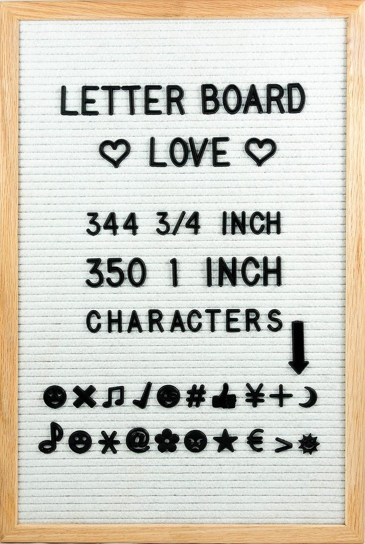 12' x 12' Felt Letter Board W/Oak Frame - 300 3/4' & 350 1' Letters & Characters - Changeable Letter Board by Letter Board Love (Black Felt)