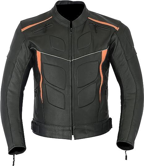 LJ-4010 in pelle sportiva per motocicletta Colore: nero e arancione altamente protettiva Giacca corazzata da uomo