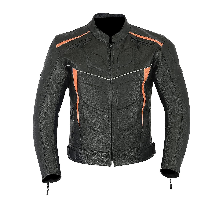 LJ-4010 Giacca corazzata da uomo Colore: nero e arancione sportiva per motocicletta altamente protettiva in pelle