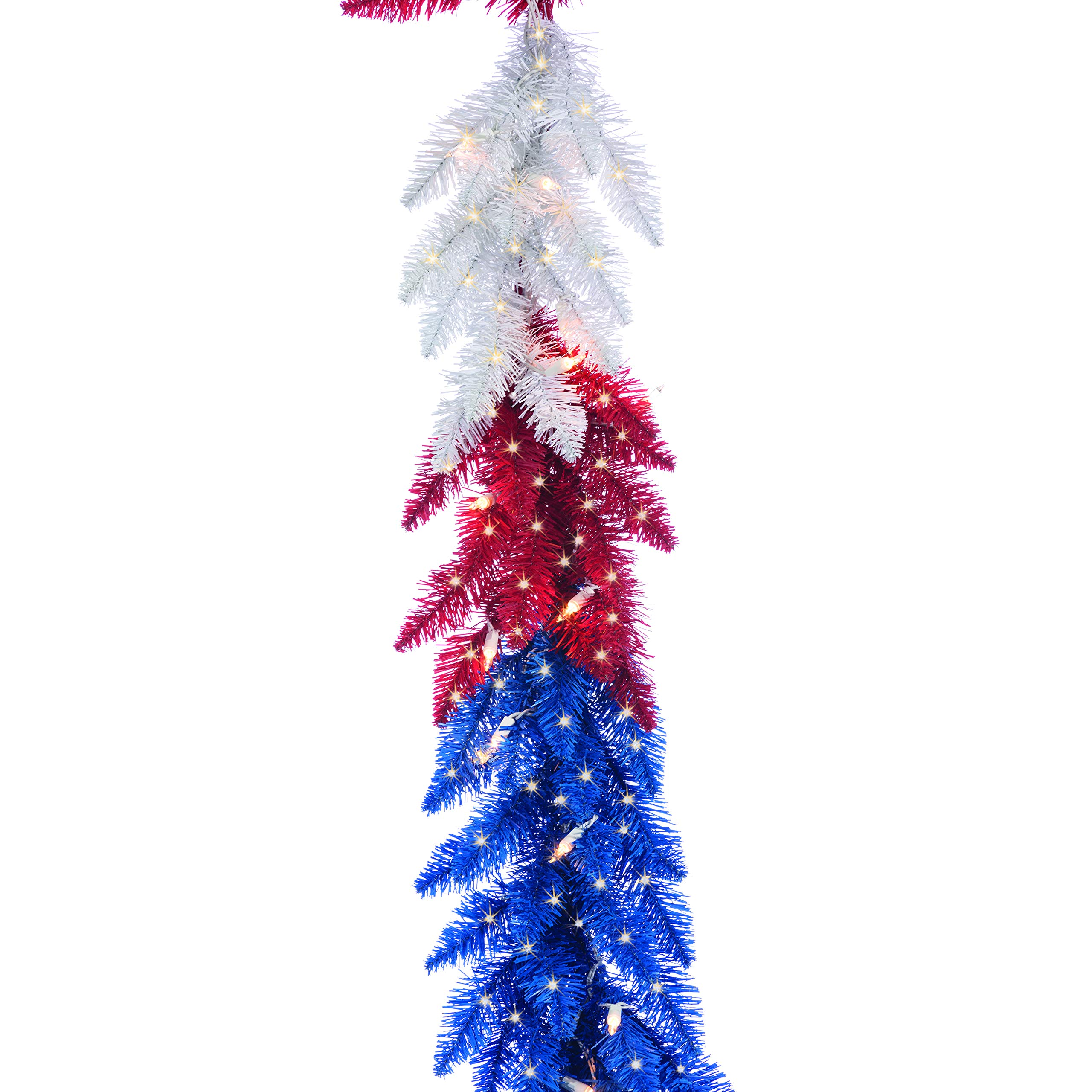 Sterling 9 FT Patriotic American Garland 50 White Lights Christmas USA Red White Blue