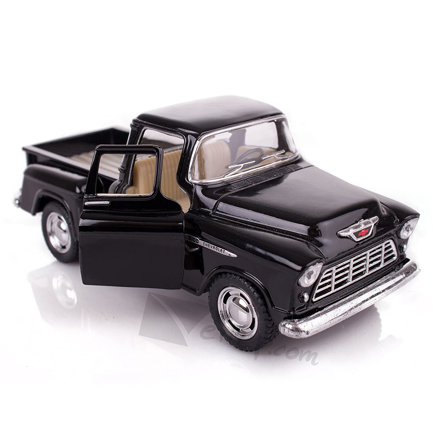 1955 Chevy Truck >> Black 1955 Chevy Stepside Pick Up Die Cast Collectible Toy Truck By Kinsmart