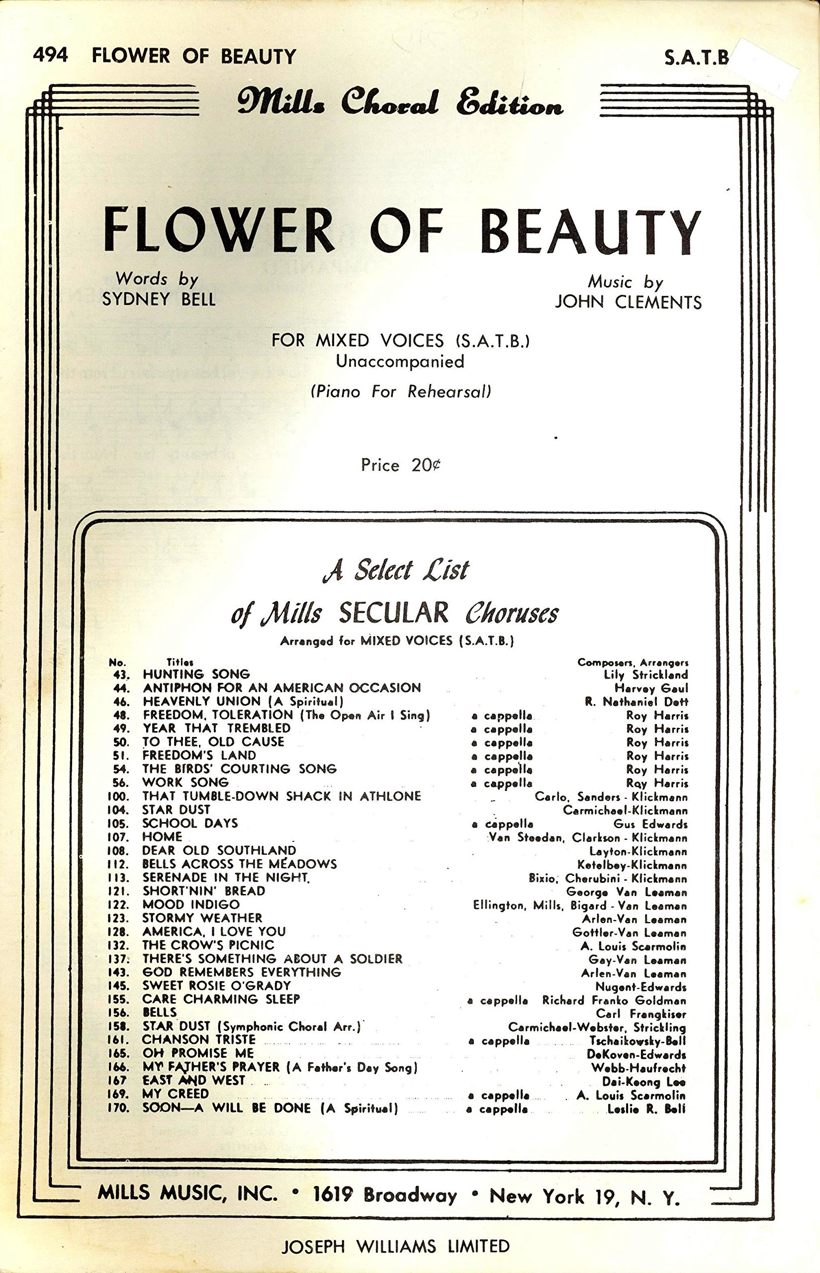 Flower Of Beauty For Mixed Voices Satb Unaccompanied Piano For