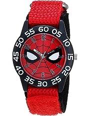 MARVEL Boys Spider-Man Analog-Quartz Watch with Nylon Strap, red, 16 (Model: WMA000186)