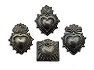 "Small Hearts, Metal Milagro Charms, (Set of 4), Love and Friendship, Unique Presents, Handmade in Haiti, 3""x3"""