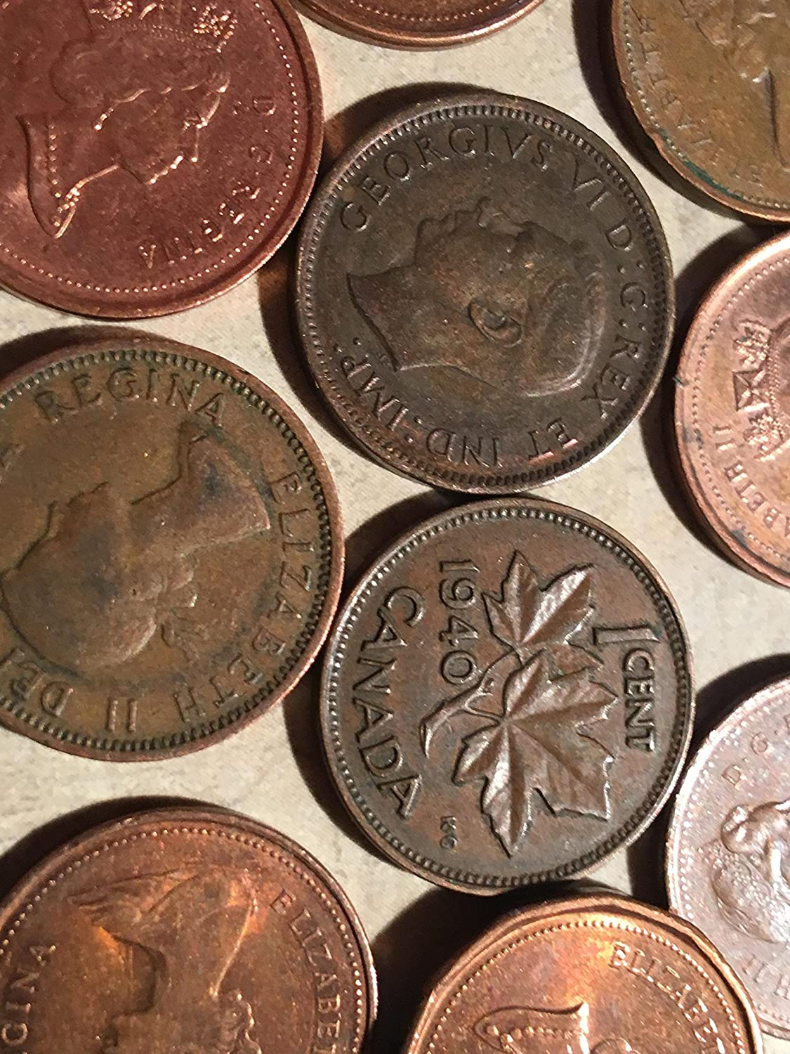 Roll Canadian Cents Canada Pennies 50 Coins Set 1940s to Present Great for Collectors Royal Canadian Mint