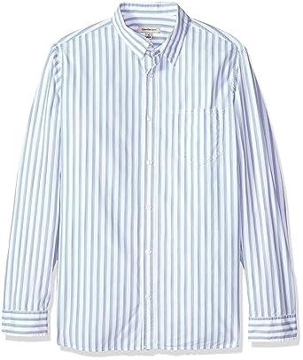 Calvin Klein Jeans Mens Long Sleeve Button Down Shirt Vertical Space Dye Stripe, Blue Fog