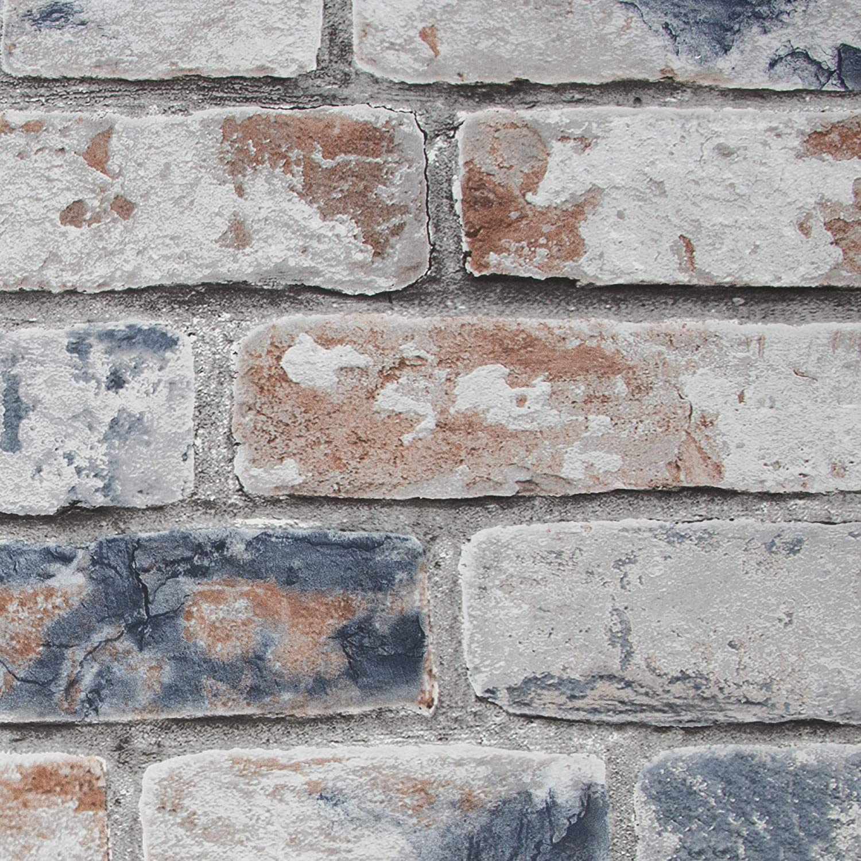 Fresco 108596 Distressed Brick Navy Red Wallpaper