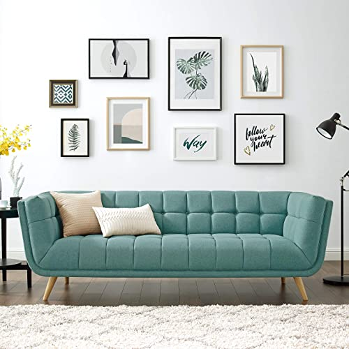 Volans Mid-Century Modern Tufted Fabric Upholstered 90 Inch Arm Settee Sofa Chaise Couch