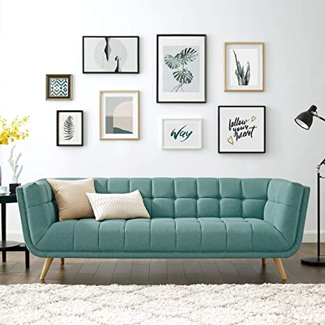Amazon Com Volans Mid Century Modern Tufted Fabric Upholstered 90 Inch Arm Settee Sofa Chaise Couch With Wood Legs For Office Living Room Bedroom Dorm Mint Green Kitchen Dining