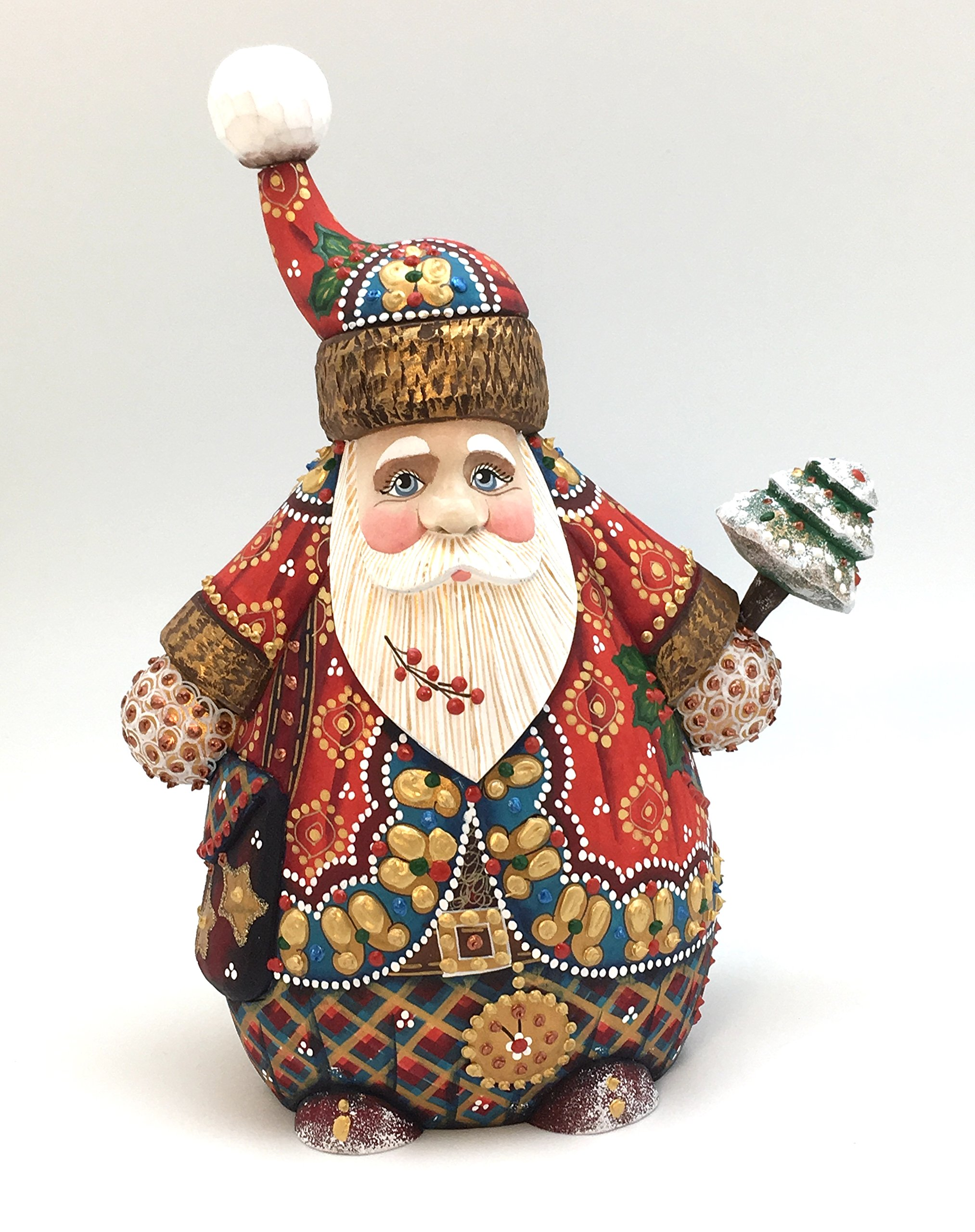 Russian SANTA Unique shape Wood Hand Carved Hand Painted Signed by artist