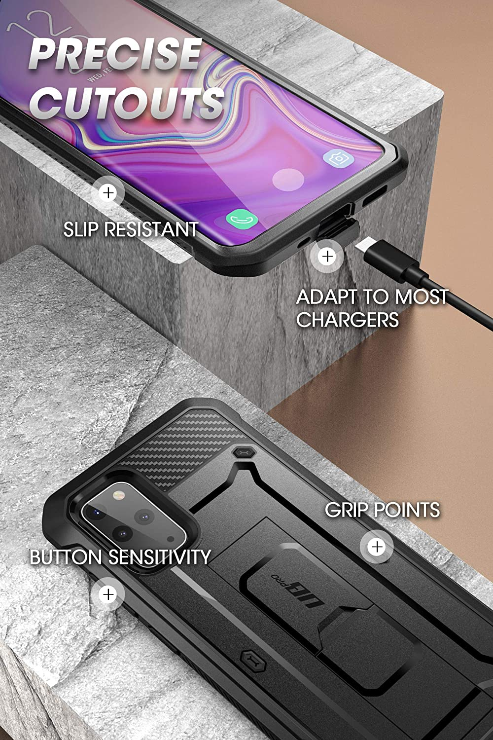 2020 Release Built-in Screen Protector with Full-Body Rugged Holster /& Kickstand for Galaxy S20 Plus Black SUPCASE UB Pro Series Designed for Samsung Galaxy S20 Plus 5G Case