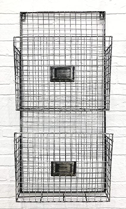 Two Tier Wall File Holder – Durable Pewter Metal Rack with Spacious Slots for Easy Organization, Mounts on Wall and Door for Office, Home, and Work – by Designstyles