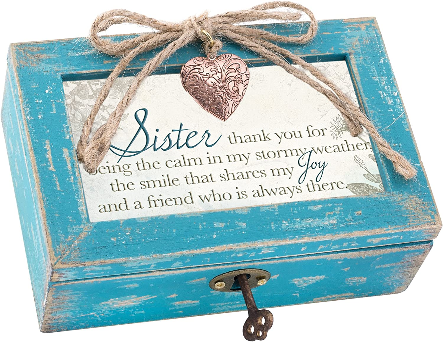 Cottage Garden Sister The Calm in My Stormy Weather Teal Distressed Jewelry Music Box Plays Wonderful World