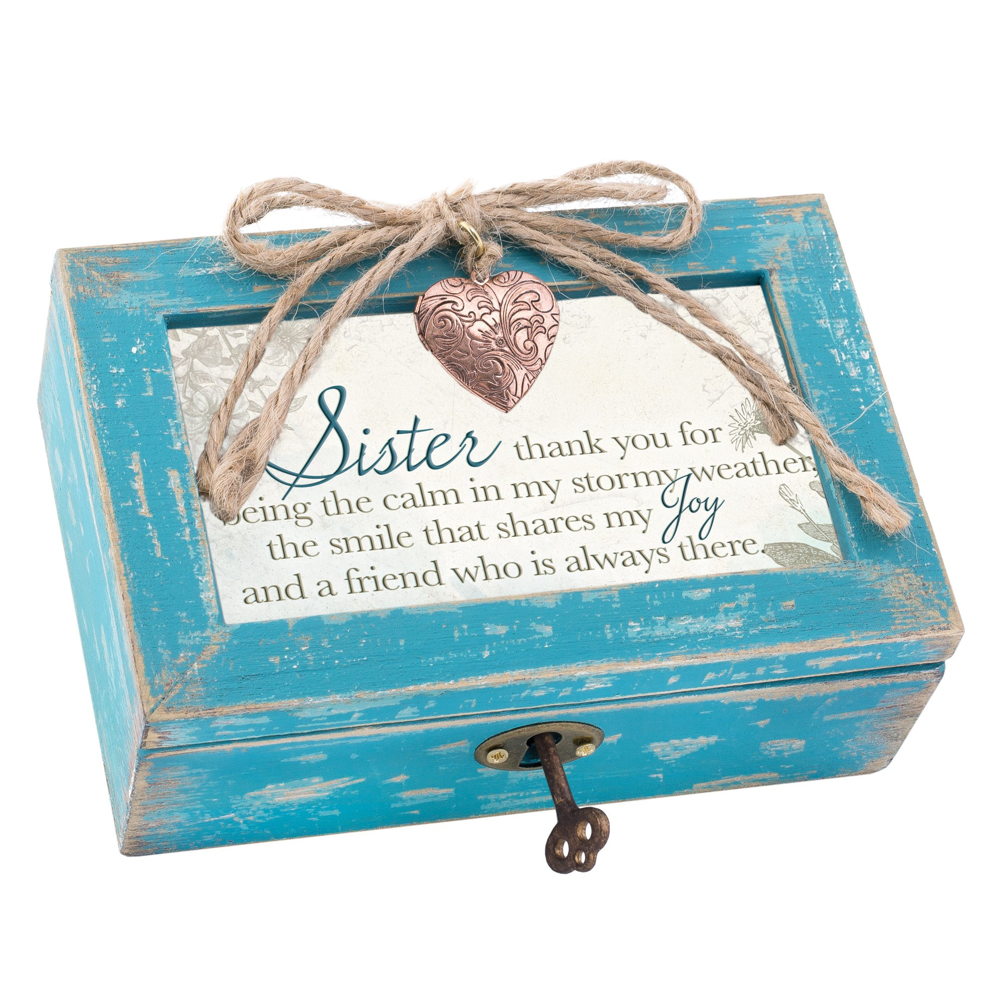 Sister My Joy and Friend Always Teal Wood Locket Jewelry Music Box Plays Tune Wonderful World by Cottage Garden