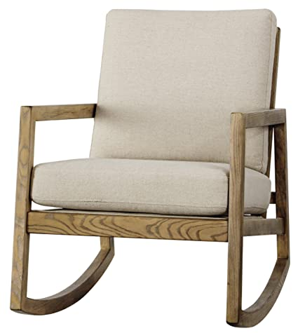 Ashley Furniture Signature Design Novelda Rocking Accent Chair Neutral Tan Faux Wood Finish