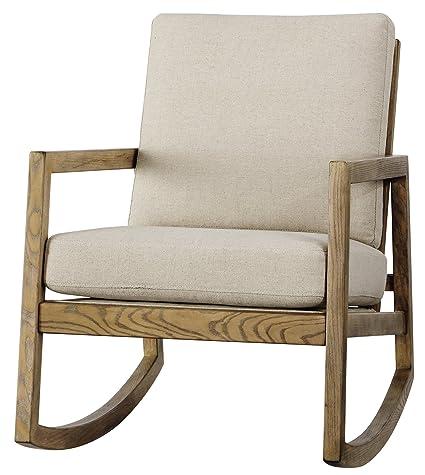 Ashley Furniture Signature Design   Novelda Rocking Accent Chair   Neutral  Tan   Faux Wood Finish