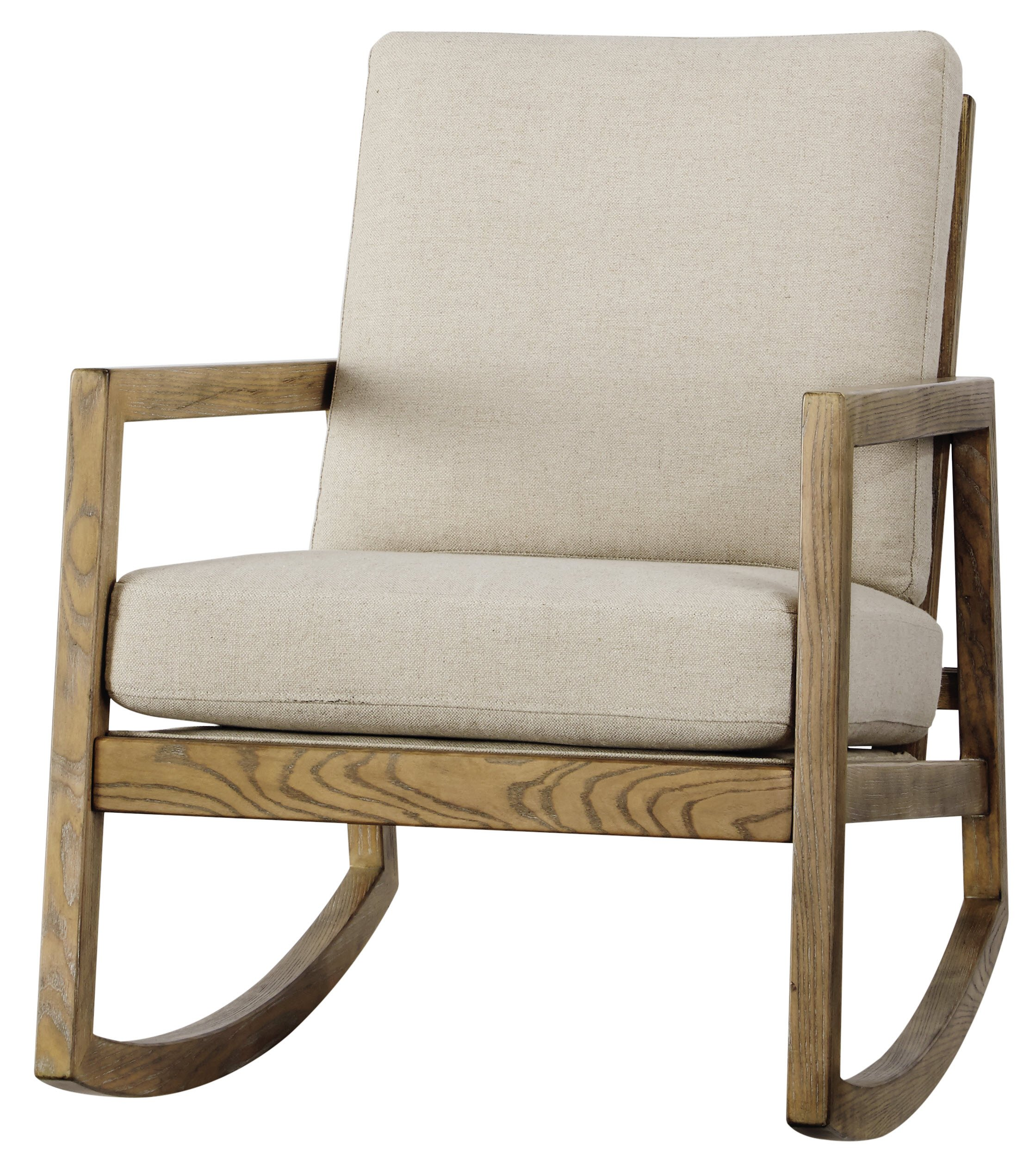 Ashley Furniture Signature Design - Novelda Rocking Accent Chair - Neutral Tan - Faux Wood Finish - LIVING ROOM ROCKING CHAIR: This accent chair touts sleek lines, but with subtle country-chic style. Warm, neutral hues play up the charm, while the plush cushions indulge you in modern comfort DEEP CUSHIONED COMFORT: Sit back and relax on high-resiliency foam cushions wrapped in a polyester/linen blend. Made complete with an exposed frame in a faux wood finish and squared armrests NATURAL HUES: Embracing materials in their natural form, the neutral fabric and light wooden tone easily matches a range of decor styles-whether yours is mid century, or filled with farmhouse flair - living-room-furniture, living-room, accent-chairs - 91EEVElhmrL -