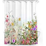 Floral Shower Curtain Colorful Flowers Blossom Butterflies Waterproof Fabric Bathroom Decorative Bath Curtain with 12 Hooks,