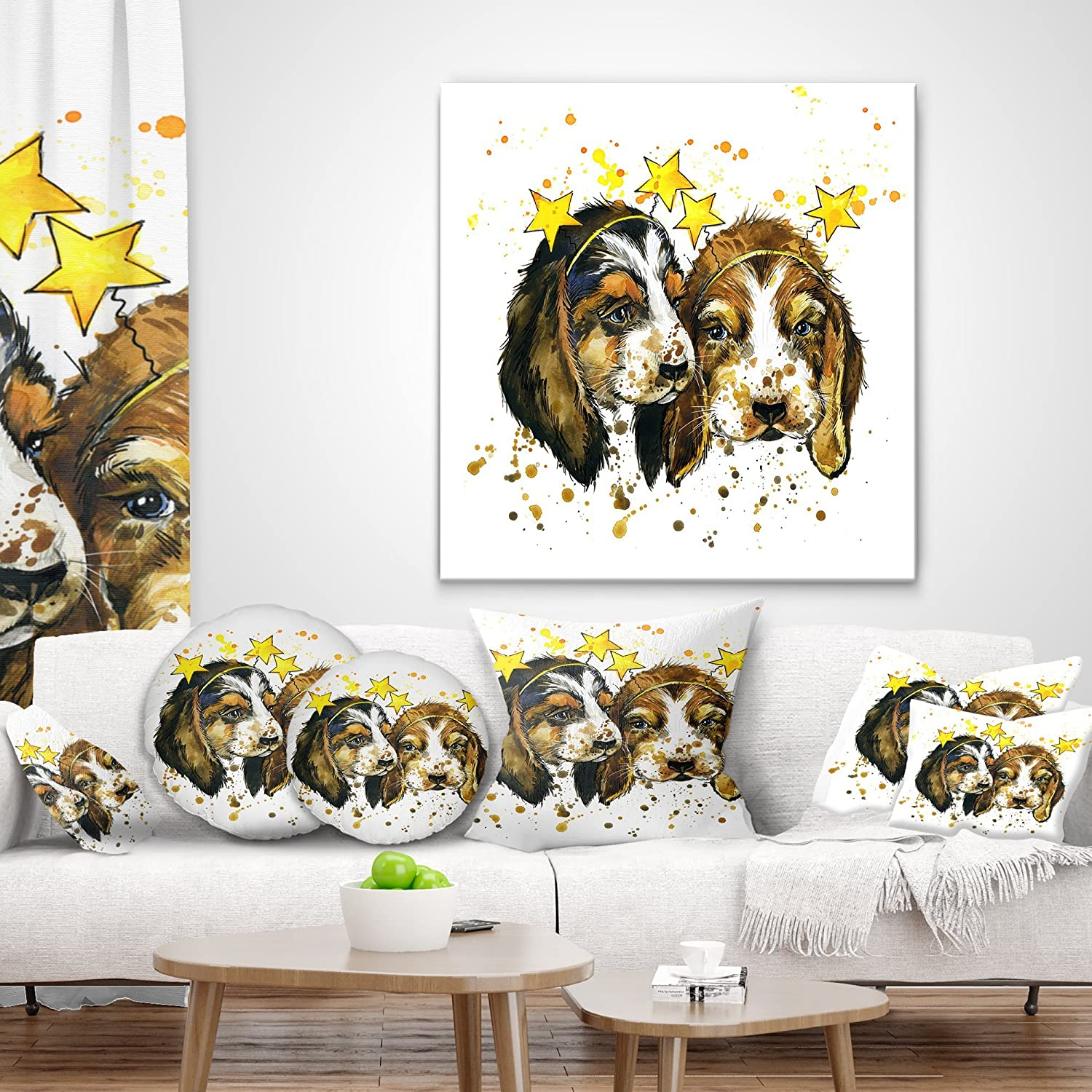 in x 16 in Sofa Throw Pillow 16 in Designart CU13229-16-16 Funny Puppy Dogs Watercolor Contemporary Animal Cushion Cover for Living Room