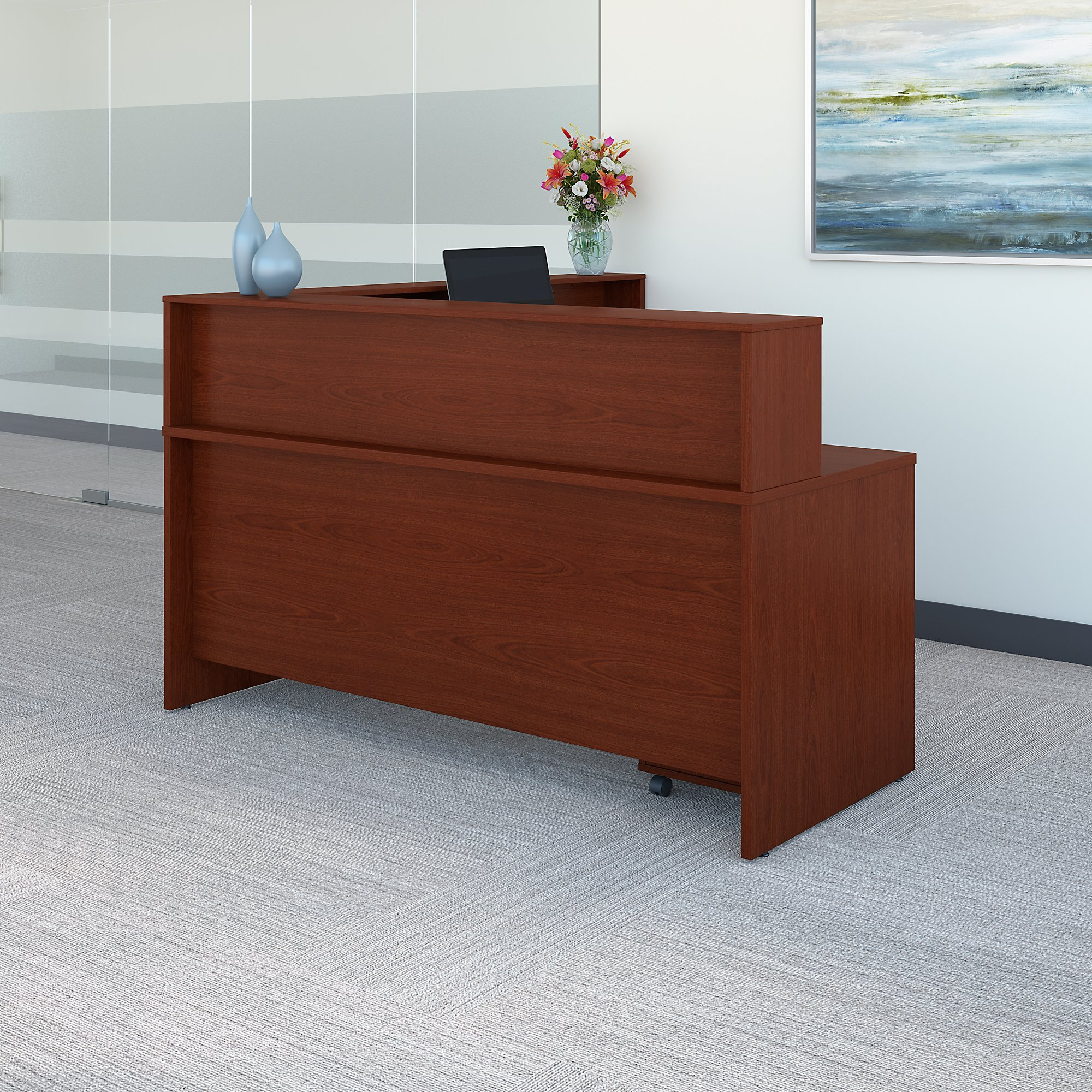 Bush Business Furniture Series C L Shaped Reception Desk with Mobile File Cabinet in Mahogany by Bush Business Furniture (Image #3)