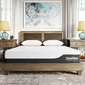 Classic Brands Cool Gel 2.0 Chill Memory Foam 12-Inch Mattress with 2 Bonus Pillows/CertiPUR-US Certified/Bed-in-a-Box, Queen, White