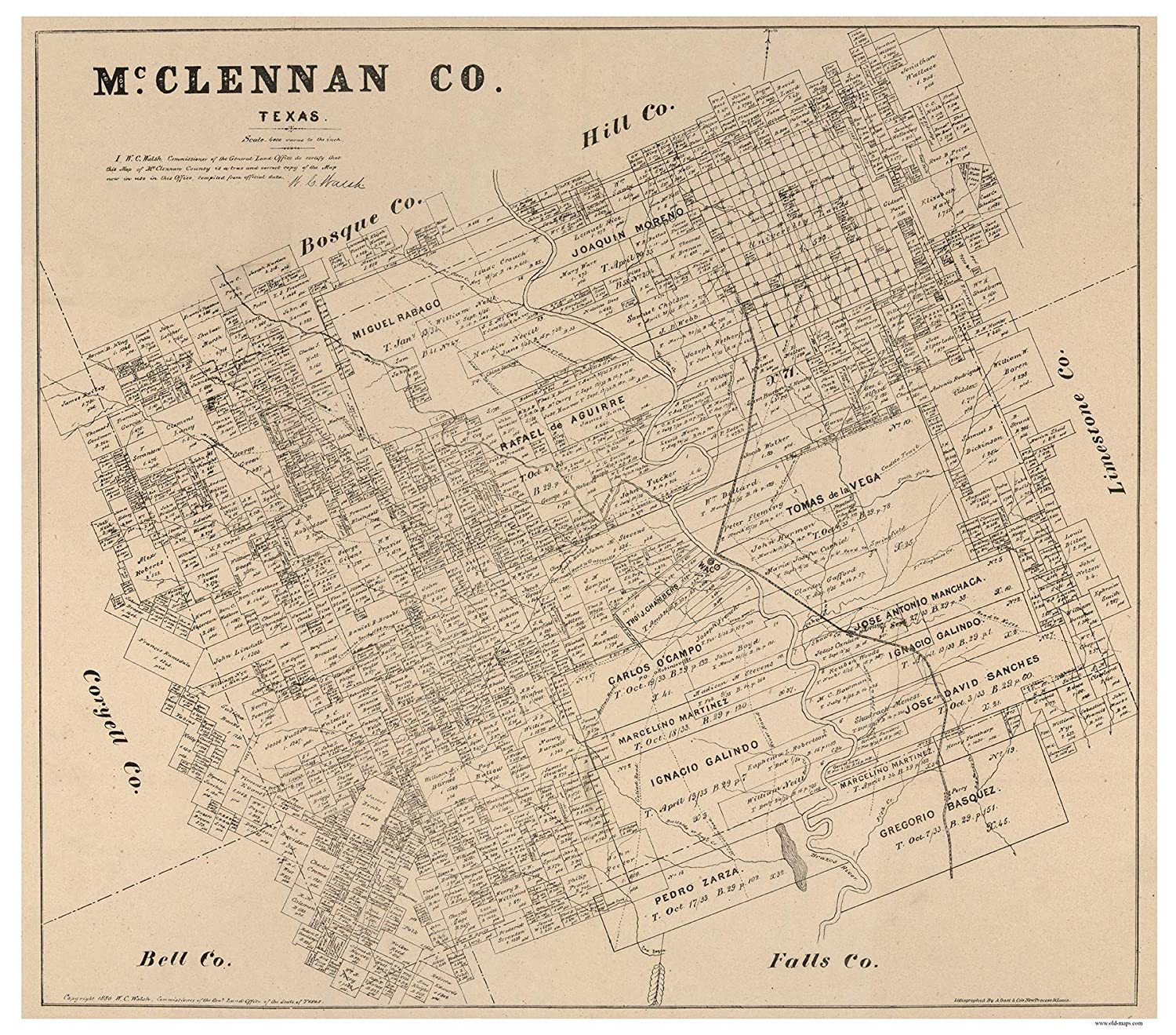 Map Of Texas 1880.Amazon Com Mclennan County Texas 1880 Wall Map With Land