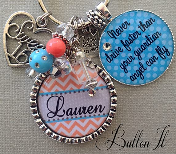 16th Birthday Gift For HER Personalized Sweet 16 Key Chain Never Drive Faster Than Guardian Angel Can Fly Daughter Niece