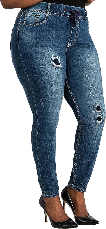 Poetic Justice Plus Size Women Curvy Fit Blue Stretch Denim Patched Jogger Pants 91EEl8RjcZL