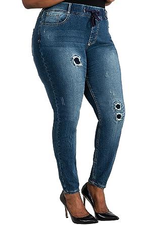 ba5f3f9a319 Poetic Justice Plus Size Women Curvy Fit Blue Stretch Denim Patched Jogger  Pants Size 1X