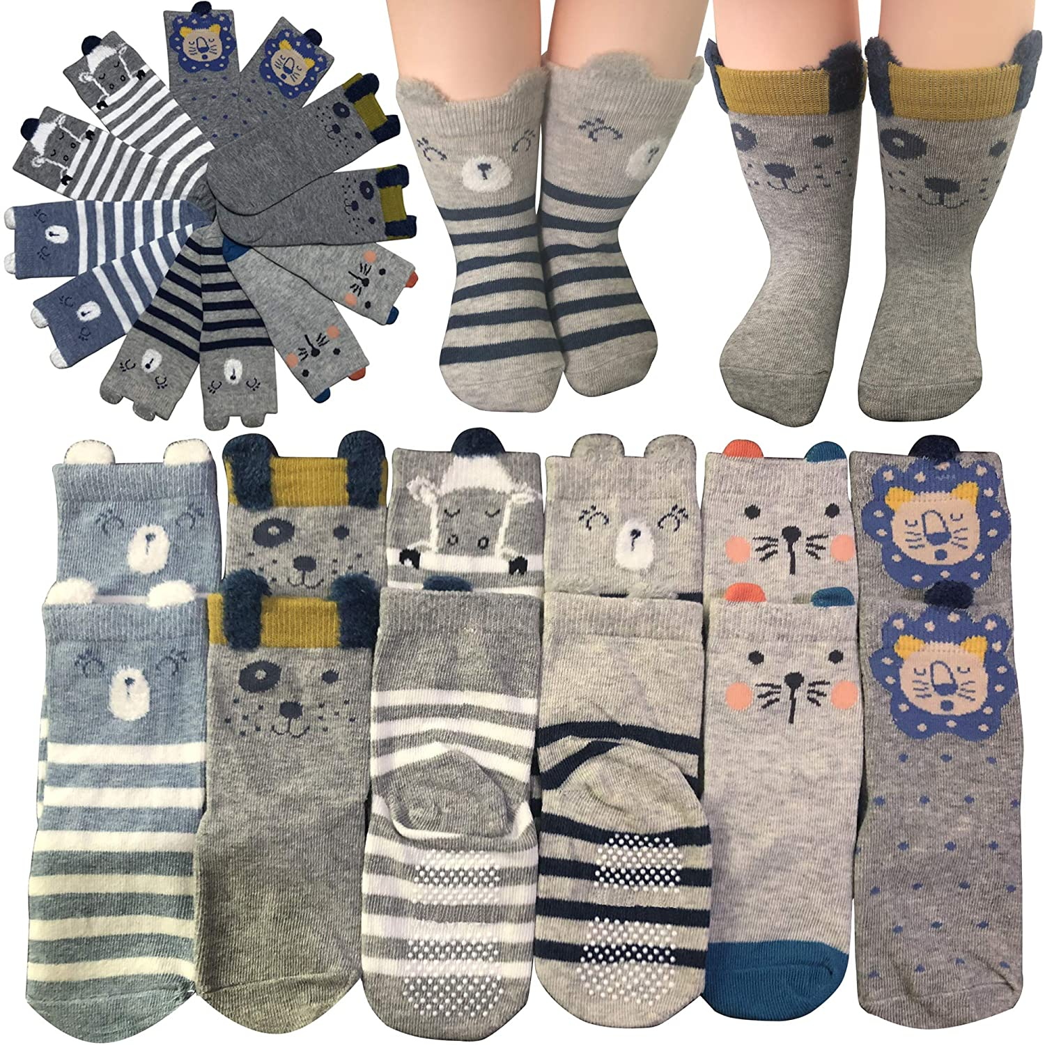 6 Pairs Cartoon Toddler Socks Boys Girls Anti-Slip Ankle Socks Baby Walkers Non-Skip Cute Animal Cotton Cozy Socks with Grip for 12-36 Months Kakalu