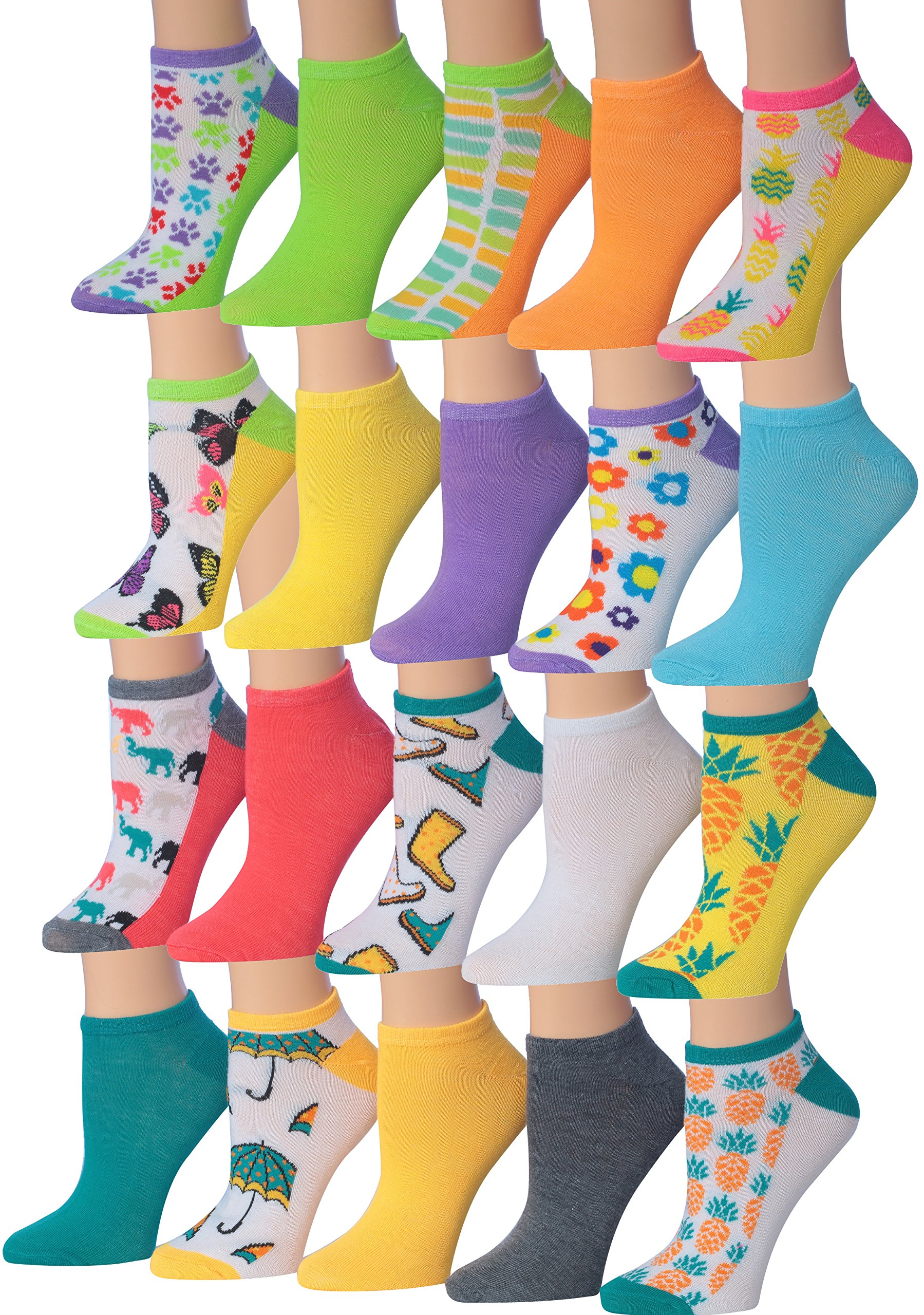 Tipi Toe Women's 20 Pairs SUMMER Fashion Trends Colorful No Show Socks Low Cut Socks, (sock size 9-11) Fits shoe size 6-9, NS78-79