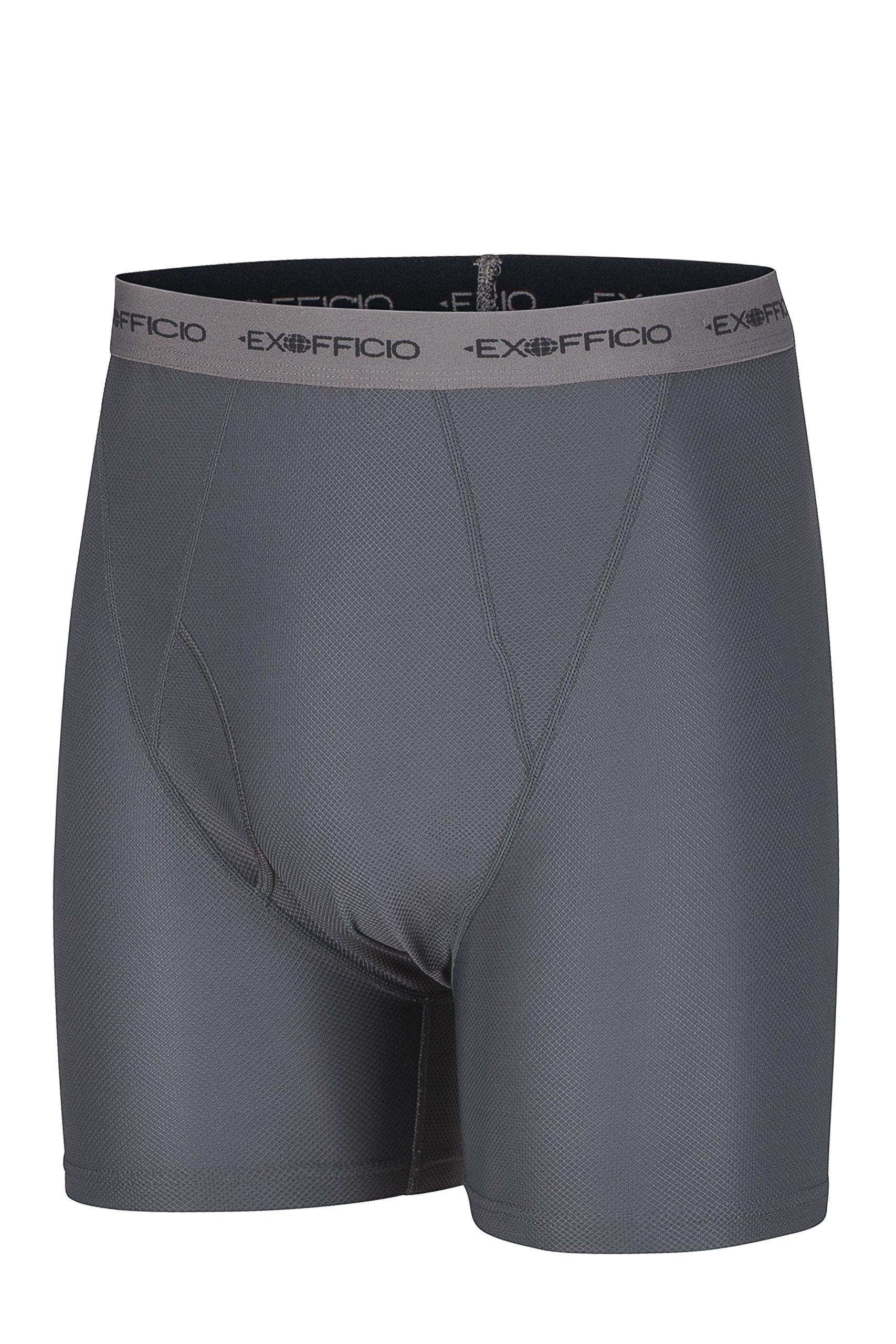 ExOfficio Men's Give-N-Go Boxer Brief,Granite/Grey,Medium