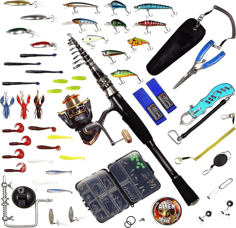 NatureBase 釣り 初心者 セット 釣り具セット バス釣り 海釣り 川釣り 釣り具セット コンパクトロッド パックロッド ルアーセット シーバス ブラックバス  ロッド7.6ft(2.3m) リール3000番