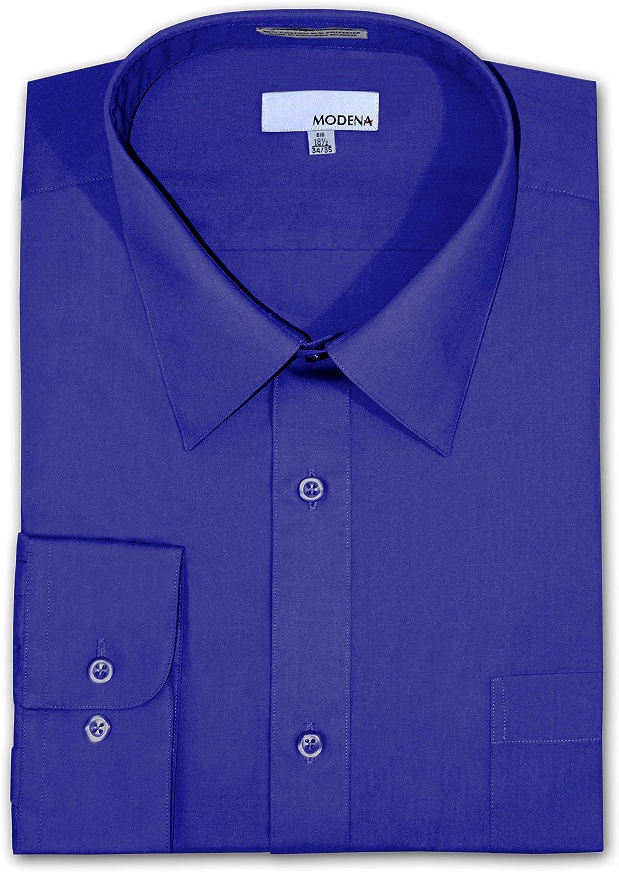Modena Big and Tall Poplin Dress Shirt French Blue