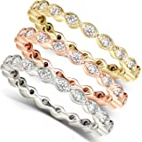 1/3 Carat TW Round Diamond Stackable Eternity Ring in 14k Yellow Gold - Size 7.5