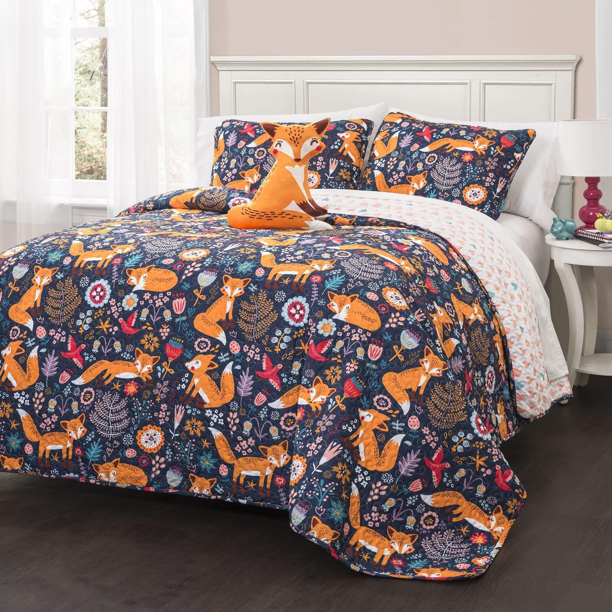 4 Piece Navy Blue Kids Animal Print Full Queen Quilt Set, Orange Grey Pink Frolicking Cute Fox Theme Bedding, Lightweight Floral Geometric Medallion Flowers Birds Reversible Heart,Polyester