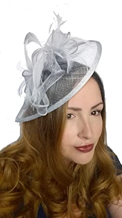 43deffba Martha Rose Boutique Pale Blue Sinamay & Feather Teardrop Hat ...