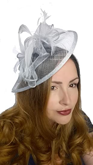 80ca642c46a29 Martha Rose Boutique Pale Blue Teardrop Sinamay Fascinator with Feathers -  Occasion Wedding Races