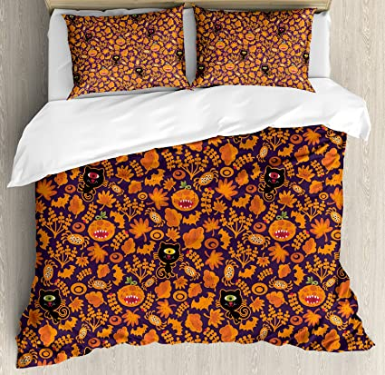 ambesonne vintage halloween duvet cover set queen size halloween themed elements on a purple background