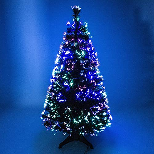 3ft 4ft green artificial fibre optic christmas xmas tree with multi led source 90cm