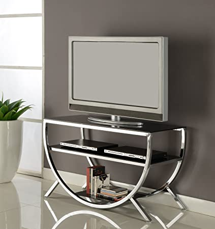 Kings Brand Furniture Metal with Glass Top Shelves TV Stand, Chrome