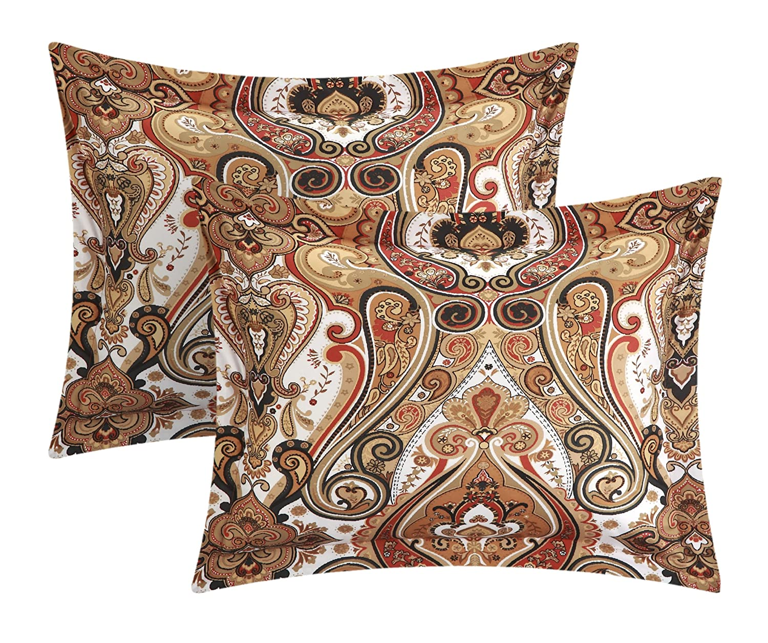 Chic Home 4 Piece Paisley Global Inspired Vedara Reversible Quilt Brown QS3353-AN King