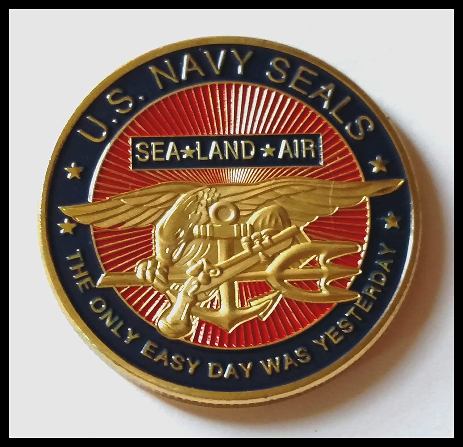 Us Navy Seals Sea Land Air Military Colorized Challenge Art Coin