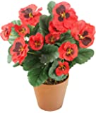 Closer 2 Nature - HBC006RE, Pianta finta con fiori rossi, altezza: ca. 30 cm [Vaso non incluso]