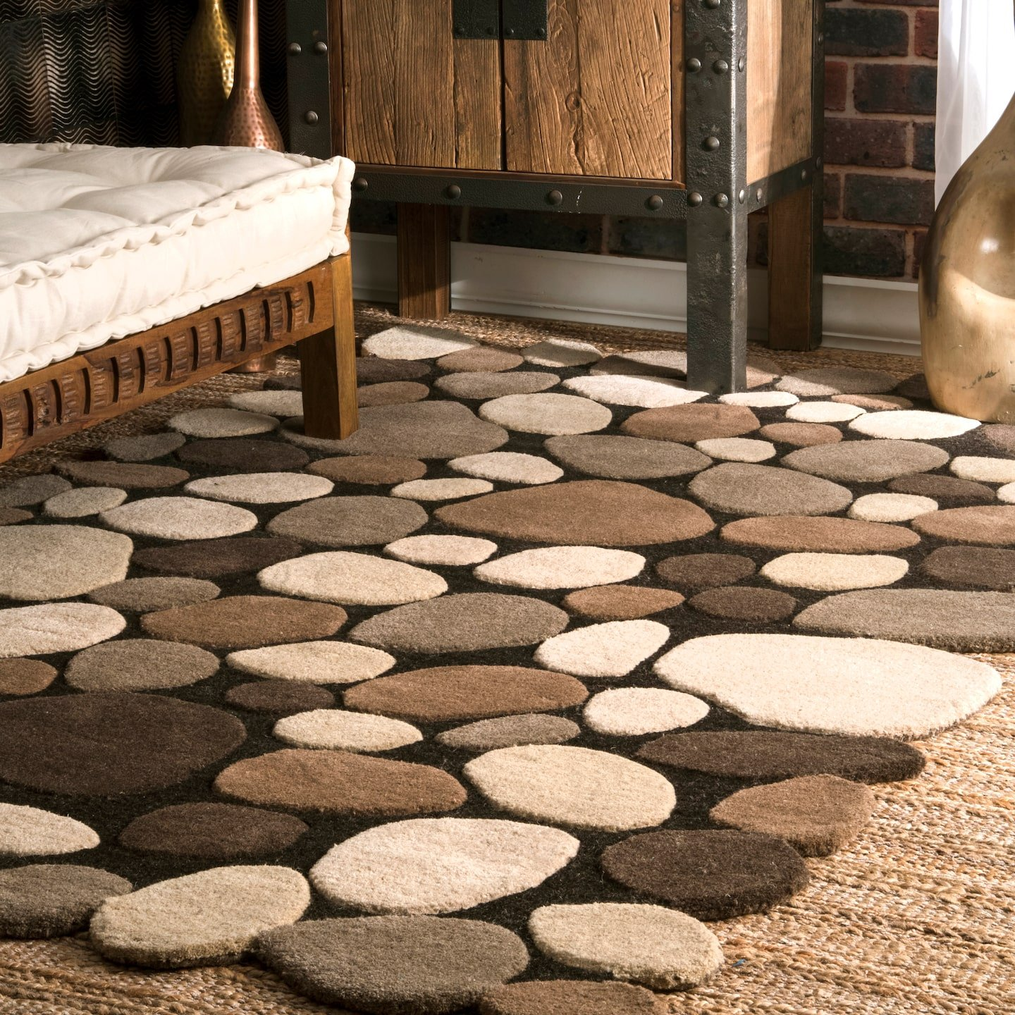 nuLOOM Contemporary Handmade Wool Pebbles Cobblestone Area Rugs, 2' x 3', Natural