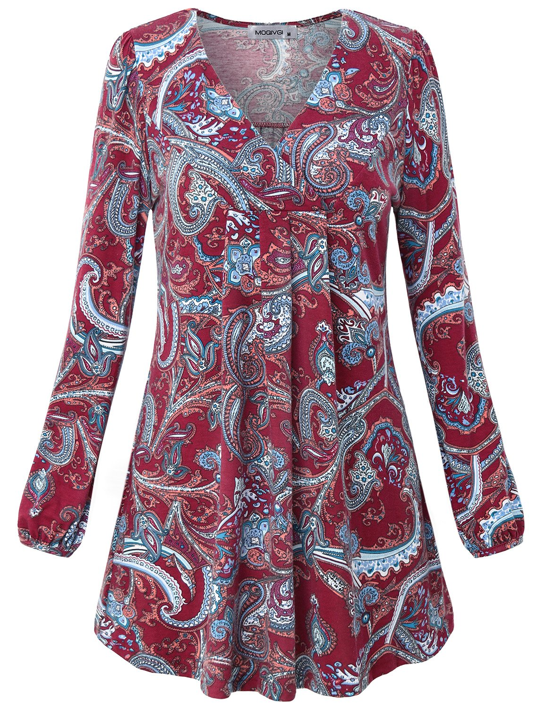 MOQIVGI Maternity Tops for Women, Puff Sleeve V Neck Elegant Flattering Paisley Shirt Country Style Peasant Plain Work Blouse Wine X-Large