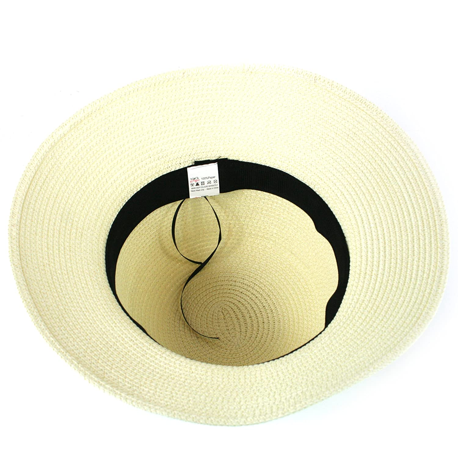 Ladies Straw hat That can be Folded into its Travel Bag Black Ginger Folding Sun Hat with Pompom Decorations Adjustable Size.