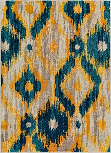 Well Woven Global Bohemian Ikat Blue Yellow Vibrant Modern Tribal Pattern 5×7 5 3 x 7 3 Area Rug Contemporary Thick Soft Plush