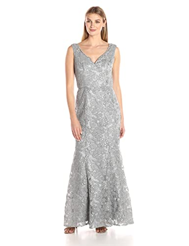 JS Collection Women's Embroidered Lace Mermaid Gown