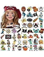 Howaf Pirati Tatuaggi Temporanei per Bambini, 96Pcs Impermeabile Tatuaggio Falso Tatuaggi Tattoos Adesivi per Bambini Bambina Ragazzi Regalo Pirati Festa di Compleanno Bomboniere Giocattolo